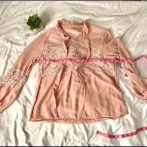 Blush pink lace Victorian long sleeve blouse